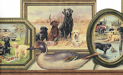* HUNTING COUNTRY LAB DOG & PUPPIES FRAMES TRUCK CAR Wallpaper bordeR DIE CUT
