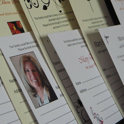 Personalised Funeral Service Attendance cards