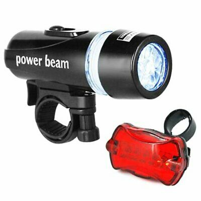 Waterproof Bright 5 LED Bike Bicycle Head & Rear Light with 6 Modes Wide Beam