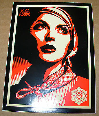 "SHEPARD FAIREY Obey Giant Sticker 3X4"" RISE ABOVE REBEL from poster print"