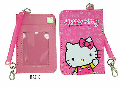 Sanrio HELLO KITTY ID Credit CARD Ticket HOLDER , Name Tag w/ stretchy Band x 1