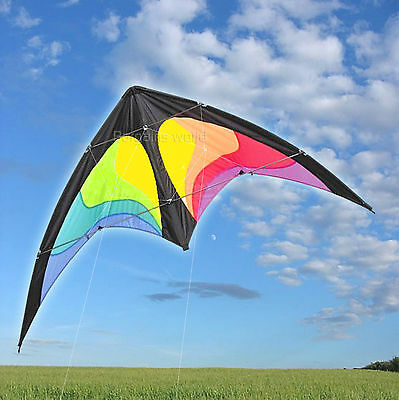 "1.6m PRO DELTA POWER STUNT KITE 2 LINE POWERFUL EASY TO FLY LARGE 63"" WING SPAN!"