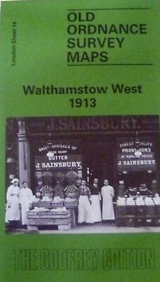 Old Ordnance Survey Map Walthamstow West near Leytonstone London 1913 S14 New