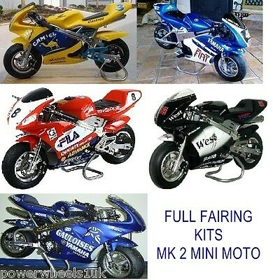 Minimoto Fairings Plastics Set, Seat, Screen For 49Cc Mk2 2 Stroke Mini Moto