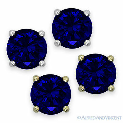 Round Cut Cubic Zirconia Faux Sapphire Sterling Silver Stud Earrings September