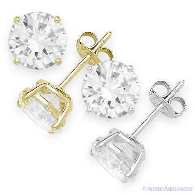 Round Brilliant Cut CZ Crystal Sterling Silver Stud Earrings - April Birthstone