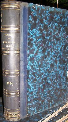 SOCIETE DES INGENIEURS CIVILS 1864 TECHNOLOGIE CHEMIN de FER LOCOMOTIVE DRAGUAGE