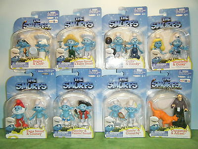 2011 The Smurfs Movie Grab Ems 2 Smurf Figure Pack Set Lot Of 8  *new*