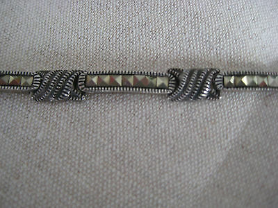 Beautiful Vintage Estate Vintage Sterling Silver Marcasite Bracelet Hand Made