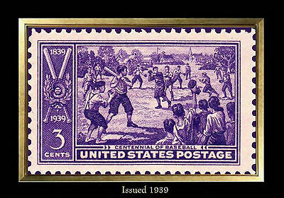 MAGNET US Postage Stamp PHOTO MAGNET 1939 Baseball Centennial Three Cents