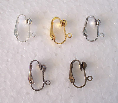 Mixed Clip On Earring Findings - Gunmetal, Bronze, Silver, Gold, Antique Silver
