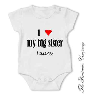 Personalised baby vest i love my auntie uncle named baby vest personalised baby grow bodysuit i love my sister brother mum dad nan aunt more negle Choice Image