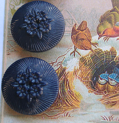 """Set of 4 ~ Vintage 3/4"""" Navy Blue Posies Glass Buttons ~new/old stock"""