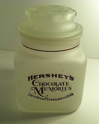 Vintage Frosted Glass Hershey'S Chocolate Memories Rare Advertising Candy Jar