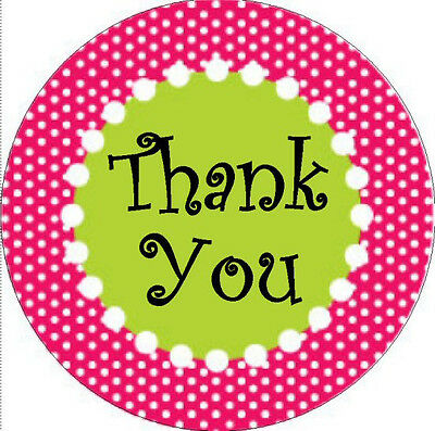 """THANK YOU STICKER - Pink Polka Dtos with Green -1"""" Round Stickers"""