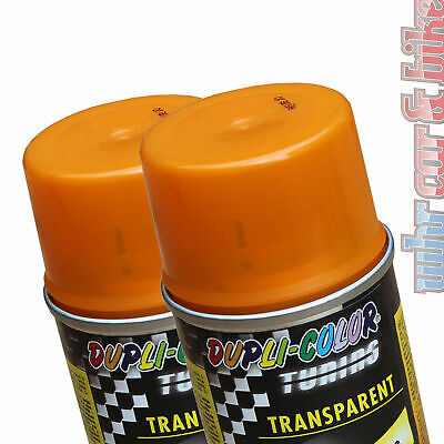 2x 150ml Dosen Dupli-Color Tuning Tönungsspray orange Transparent-Lack