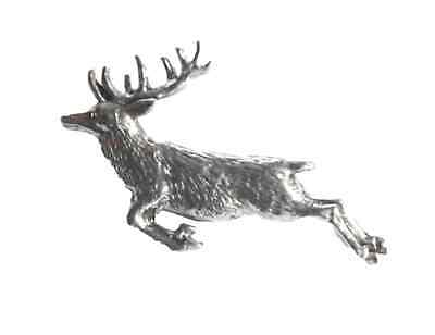 """SPRINGING STAG """"Birds,Animals Nature"""" Hand Made in UK Pewter Lapel Pin Badge"""