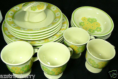 VTG FRANCISCAN Daisy Picnic dinner ware Yellow  Green Flowers LOT OF 18pc Set