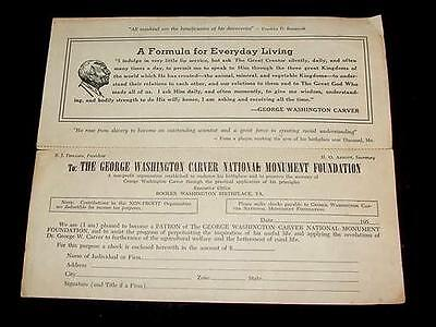1950'S GEORGE WASHINGTON CARVER NAT MONUMENT FOUNDATION NEGRO BLACK DONATE SLIP