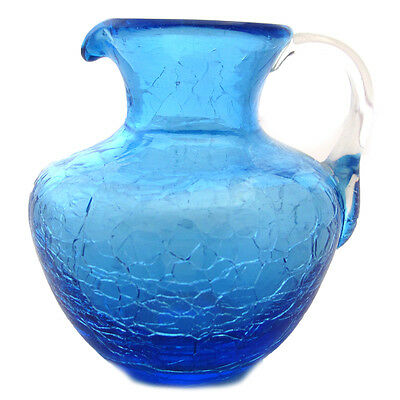 BLUE CRACKLE GLASS PITCHER VINTAGE ART GLASS 3 INCHES TALL CLEAR HANDLE