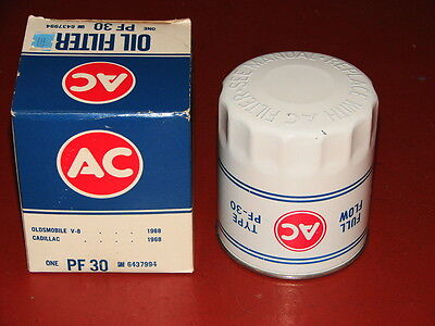 Nos Olds 442 W30 Nos Ac Oil Filter Pf30 White Embossed