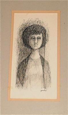 """Ink Drawing of Woman-""""The Aunt""""-1960s/70s-Willam Gorman-N.A"""