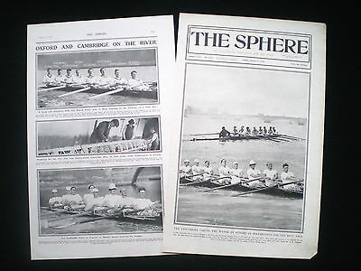 2 OLD PAGES - OXFORD v CAMBRIDGE UNIVERSITY BOAT RACE ROWING 1920