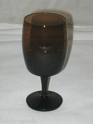 4 Gorham Reizart Brown Glass Crystal Mid Century Modern Tall Large Wine Glasses