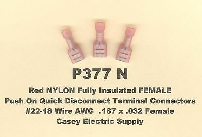 50 Red NYLON Fully Insulated FEMALE Push On Connector 22-18 Wire .187 x .032 USA