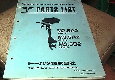 1998  TOHATSU M2.5A2 M3.5A2 M3.5B2  Outboards Factory Parts Book