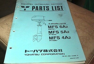 2000  TOHATSU MFS 6A2 5A2 4A2 4-Stroke  Outboards Factory Parts Book