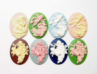 8 Colors of 40x30 mm Victorian Deco Beautiful Cherubs/Angels Cameos, Very Nice