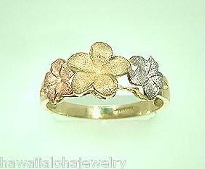 8.5-6.5mm Graduated Hawaiian 14k Tri-Color Gold DC Matted 3 Plumeria Flower Ring