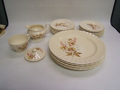 Edwin Knowles Semi-Vitreous China Vintage USA 22 Pieces Cream w/ Pink/Brown