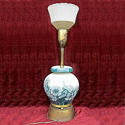Vintage Art Deco Table Torchiere Lamp Hand Painted Ceramic, Brass & Glass