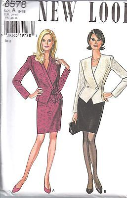 UNCUT Vintage New Look Sewing Pattern Misses Jacket Skirt 6578 8 - 18 OOP NEW FF