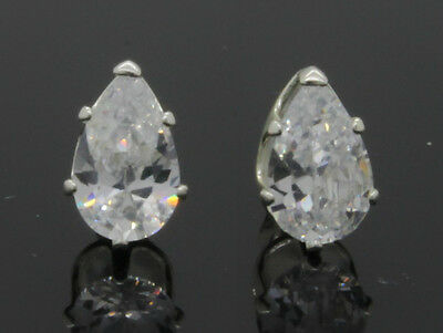 REAL SOLID 925 STERLING SILVER Simulated Diamond 8mm Pear Cut Stud Earrings