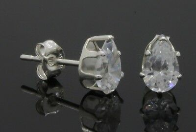 REAL SOLID 925 STERLING SILVER Simulated Diamond 6mm Pear Cut Stud Earrings