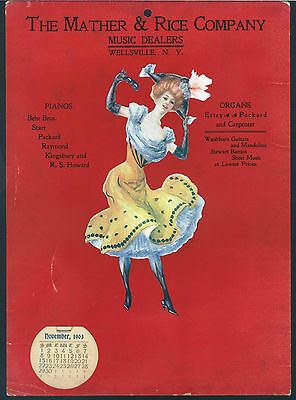*Antique* 1903 Dancing Girl MATHER & RICE NY Music Dealer Advertising CALENDAR