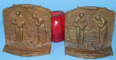 "Antique Solid Bronze Figural"" Angelus Call To Prayer "" Religious Bookends"
