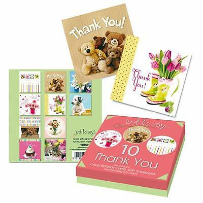 10 x Luxury Thank You Cards Assorted Designs Cupcake, Flowers Teddy's Cat Dog
