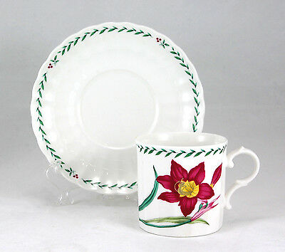 Mikasa Maxima SUMMER SYMPHONY CAJ14 Flat Cup and Saucer Set 3 in. Red Flower
