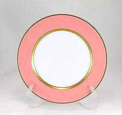 Fitz and Floyd RENAISSANCE - PEACH Dinner Plate 10.375 in. Salmon Pink Band Gold