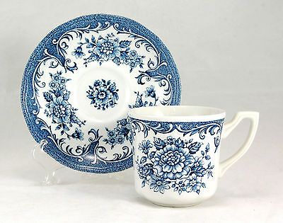 J and G Meakin AVONDALE - BLUE Flat Cup and Saucer Set 3 in. Ironstone Flowers