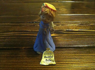 Vintage 1978 Jasco Bisque Bashful Belle Christmas Angel Stocking Figurine Bell