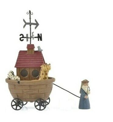 Blossom Bucket Noah Pulling Ark Cart Weather Vane Primitive Folksy Decor 85756