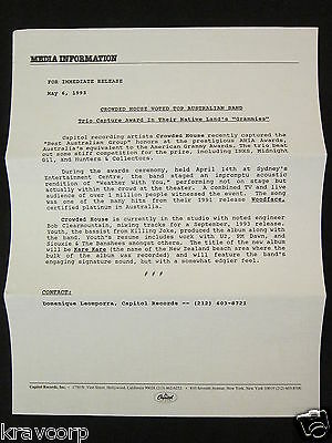 Crowded House—1993 Press Release
