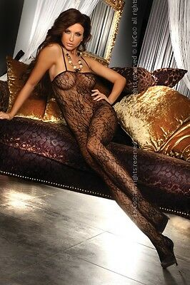 Sexy LivCo Corsetti Netz Catsuit Danae S/L Schwarz Body Stockings Reizwäsche Hot