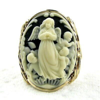 Angel Cherubs Cameo Ring 14K Rolled Gold Jewelry Black Resin Size Selectable