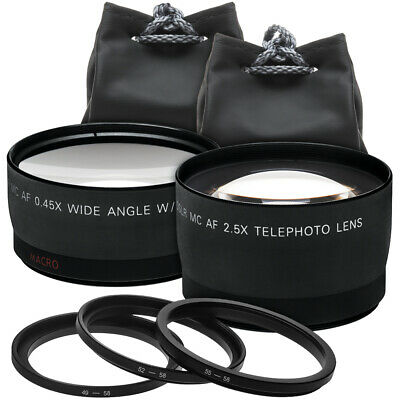 Precision Design 2x Telephoto & .45x Wide-Angle Digital Lens 49mm/52mm/55mm/58mm